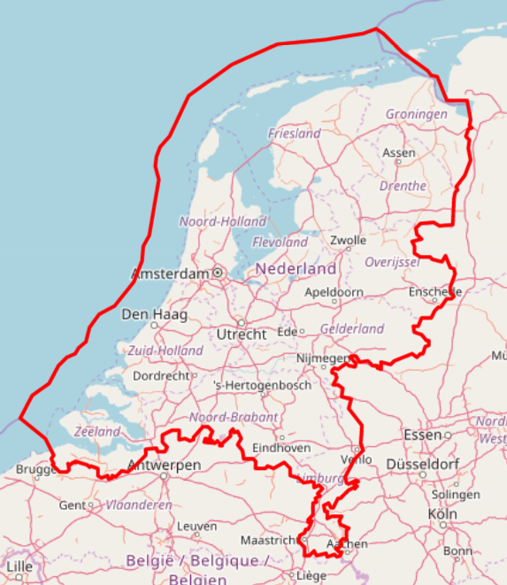 outline of the netherlands accorgind to open streetmaps